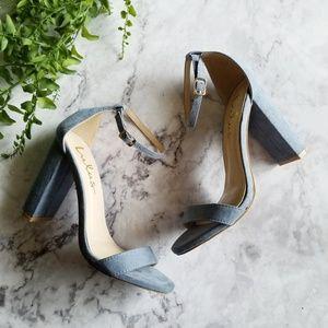 Lulu's | Taylor Blue Suede Ankle Strap Heels